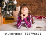 little girl in christmas... | Shutterstock . vector #518796631