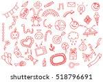 universal set icons doodles... | Shutterstock .eps vector #518796691