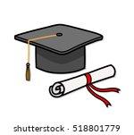 graduation cap diploma hat... | Shutterstock .eps vector #518801779