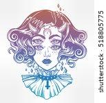 devil girl head portrait with...   Shutterstock .eps vector #518805775