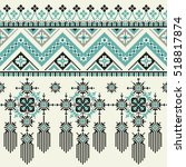 vector tribal ethnic seamless... | Shutterstock .eps vector #518817874