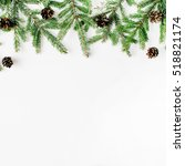 christmas composition with fir... | Shutterstock . vector #518821174