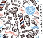 barber shop tools accessories... | Shutterstock . vector #518822317