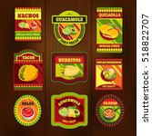 mexican food bright colorful... | Shutterstock . vector #518822707