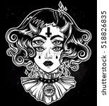 devil girl head portrait with... | Shutterstock .eps vector #518826835