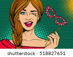 pop art face. young sexy woman... | Shutterstock .eps vector #518827651
