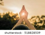 silhouette people pray from... | Shutterstock . vector #518828539