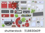 Icons set of interior (top view). Isolated Vector Illustration. Furniture and elements for living room, bedroom, kitchen, bathroom. Floor plan (view from above). Furniture store. | Shutterstock vector #518830609