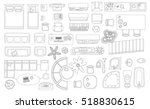 Set of linear icons. Interior top view. Isolated Vector Illustration. Furniture and elements for living room, bedroom, kitchen, bathroom. Floor plan (view from above). Furniture store. | Shutterstock vector #518830615