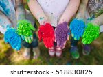 hands   palms of young people... | Shutterstock . vector #518830825