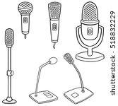 vector set of microphone | Shutterstock .eps vector #518832229