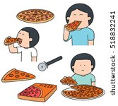 vector set of man eating pizza | Shutterstock .eps vector #518832241