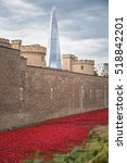 Small photo of August 2014 - London, United Kingdom: Almost 900,000 ceramic poppies are installed at The Tower of London to commemorate Britain's involvement in the First World War.