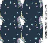 unicorn rainbow seamless... | Shutterstock .eps vector #518843395