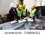workers and manager in safety... | Shutterstock . vector #518846311