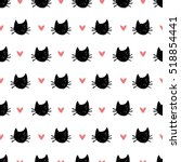 Stock vector seamless pattern with hand drawn cats and hearts 518854441