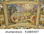 Painted ceiling in Gallery of Maps, Vatican Museums, Rome, Italz - stock photo