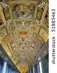 Painted ceiling in Gallery of Maps, Vatican Museums, Rome, Italy - stock photo
