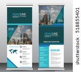 blue roll up business brochure...   Shutterstock .eps vector #518855401