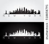 new york usa skyline and... | Shutterstock .eps vector #518858791