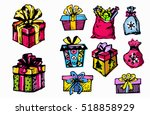 set of colorful vector gift... | Shutterstock .eps vector #518858929