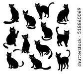 Stock vector cute black cats collection vector silhouette illustrations 518860069