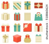 parcel  presents and colorful... | Shutterstock .eps vector #518860624