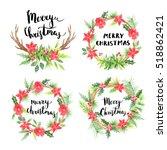 merry christmas lettering.... | Shutterstock . vector #518862421