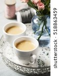 romantic setup with coffee and... | Shutterstock . vector #518863459