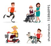 set of people and pets with... | Shutterstock .eps vector #518868991