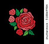 red roses embroidery on black... | Shutterstock .eps vector #518869984