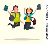 happy couple of students... | Shutterstock .eps vector #518870779