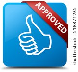 approved  thumbs up icon  cyan... | Shutterstock . vector #518871265