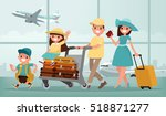 family travel. father mother ... | Shutterstock .eps vector #518871277