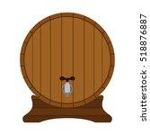 Cartoon Wooden Barrel In Flat...
