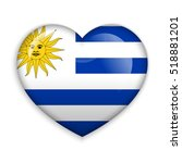 love uruguay. flag heart glossy ... | Shutterstock .eps vector #518881201