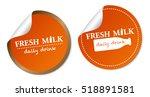 fresh milk stickers | Shutterstock .eps vector #518891581