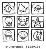 marine life icons | Shutterstock .eps vector #51889195
