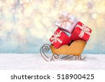 red and white christmas gift... | Shutterstock . vector #518900425
