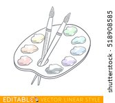 artist's palette with paints... | Shutterstock .eps vector #518908585