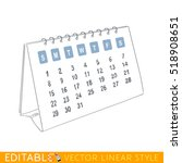 desk calendar. editable outline ...   Shutterstock .eps vector #518908651