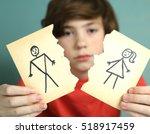 sad preteen boy unhappy about... | Shutterstock . vector #518917459