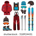 Skiing Equipment Vector Icons....