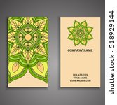 vector business card. floral... | Shutterstock .eps vector #518929144