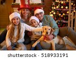 portrait of a happy family and...   Shutterstock . vector #518933191