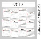 2017 calendar planner design.... | Shutterstock .eps vector #518940115