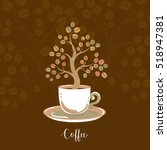 coffee card with decorative... | Shutterstock .eps vector #518947381