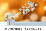 gift box on white floor with... | Shutterstock . vector #518951761