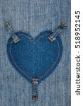 Heart Made Of Denim Fabric And...