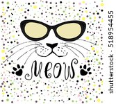 cute cat with glasses hand... | Shutterstock .eps vector #518954455